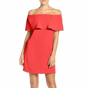Charles Henry Red XS Coral Off the Shoulder dress